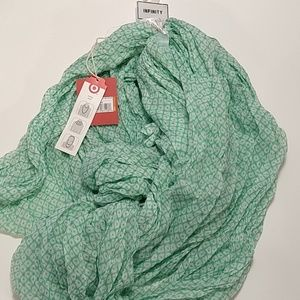 Infinity Scarf Mossimo NWT green & white (374)